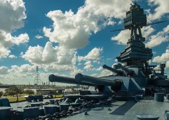 "USS Texas dual 14""/45 caliber gun turrets"