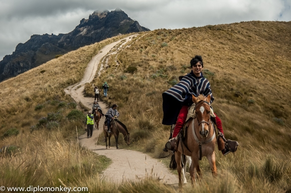 Riding down from Ruku Pichincha.